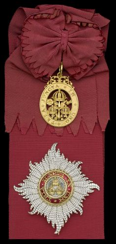 Order of the Bath, G.C.B. (Civil) Knight Grand Cross set of insignia, sash badge, hallmarked London 1865, maker's mark of Robert Garrard, 60mm x 52mm and breast star, 98mm x 92mm, R & S. Garrard & Co.