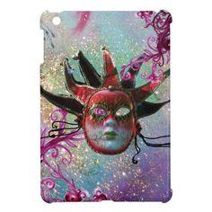 BLACK RED JESTER MASK Masquerade Party Blue Green iPad Mini Case