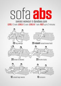 Workout while sitting on a sofa.