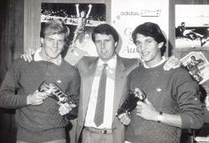 Dixon, left, stands alongside World Cup winner Geoff Hurst, centre, and a young…