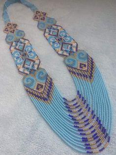 Seed Bead Patterns, Loom Patterns, Beading Patterns, Bead Jewellery, Diy Jewelry, Beaded Jewelry, Seed Bead Necklace, Seed Beads, Beaded Necklace