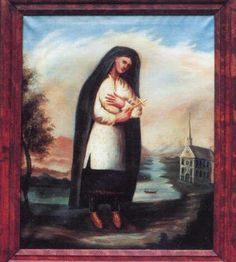 The oldest portrait of Kateri Tekakwitha is an oil painting on canvas 41 x 37″ painted by Father Chauchetière between 1682-1693. Kateri appeared to him during that time. The original painting hangs in the sacristy of St. Francis Xavier Church on the Kanawaké Mohawk Reservation on the south bank of the St. Lawrence River, near Montréal, Québec.