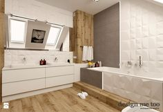 Biel, drewno i faktura Bathroom Inspiration, Double Vanity, Alcove, Interior And Exterior, New Homes, Bathtub, Flooring, Dom, House