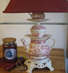 New for spring,ceramic Tea Pot Lamp,ready for the cozy spot in your kitchen. $100.00, via Etsy.