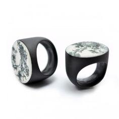 Luca Tripaldi -  RINGS - black porcelain and ceramic transfers http://www.lucatripaldijewelry.com/