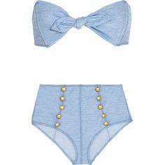 Lisa Marie Fernandez - Poppy Stretch-denim Bandeau Bikini ($186) ❤ liked on Polyvore featuring swimwear, bikinis, light denim, bikini swim wear, bikini beachwear, bandeau swimwear, lisa marie fernandez and light blue bikini