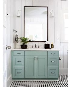 The prettiest bathroom vanity color via @cortneybishopdesign!