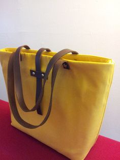Muster yellow Canvas Tote Bag with leather by ScarvesBuySharon, $49.00