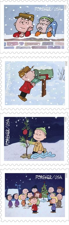 MASHABLE (October 2, 2015 ~ ~ Charlie Brown postage stamps for Christmas!