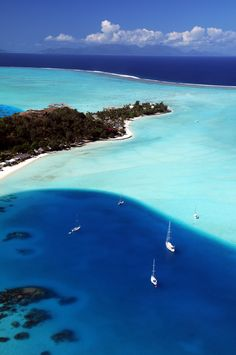 Matira Beach in Bora Bora, French Polynesia.