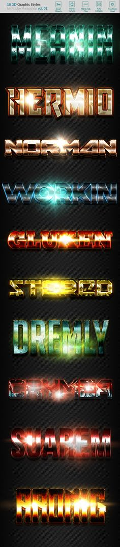 10 3D Styles vol. 01 — Layered PSD #light #flares • Available here → https://graphicriver.net/item/10-3d-styles-vol-01/20713117?ref=pxcr