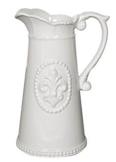 9in Cream Ceramic Fleur de Lis Pitcher
