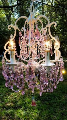 Antique Pink Crystal Chandelier Romantic Cottage Chandelier Shabby Chic Chandelier Bird Cage Chandelier Home Decor - Home Decorations Ideas Cottage Shabby Chic, Shabby Chic Living Room, Shabby Chic Bedrooms, Shabby Chic Homes, Shabby Chic Furniture, Shabby Chic Decor, Boho Decor, Cozy Cottage, Cottage House