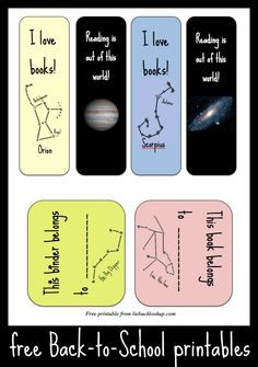 Constellation book marks & book tags (free printable)