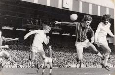 Denis Law and George Best challenge for the ball v Crystal Palace 1971