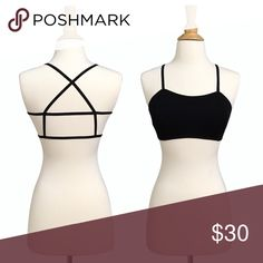 Strappy Back Caged Padded Bralette Ultra comfortable, super stretchy material makes this cute, strappy, racerback style bralette perfect for everyday wear. Lightly padded, removable. OSFM up to about a 34B-36C.  ❌ Sorry, no trades. fairlygirly Tops Crop Tops