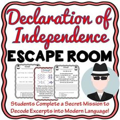Understanding and interpreting old documents can be a challenge for any student! This escape room has students analyze 4 excerpts from the Declaration of Independence. Students then decode the modern meaning of that excerpt and answer a question about the excerpt.