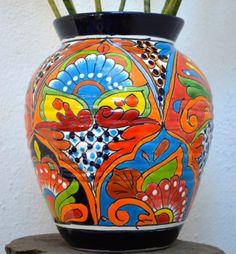 Elegant blue talavera vase by MexicanTalavera on Etsy, $80.00