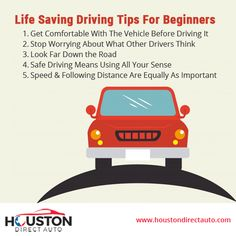 Life-Saving Driving Tips For Beginners! Driving Tips For Beginners, Driving Test Tips, Learning To Drive Tips, Road Safety Tips, Drivers Ed, Driving Courses, Car Care Tips, Self Defense Tips, Car Buying Tips