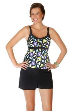 Caribbean Joe life saver print peasant tankini top. This womens bathing suit has a shelf bra and padded cups. Mix and match swimwear. Each piece is sold separately. Style # 861692. Caribbean Joe life saver print peasant tankini top.