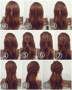 Ponytail Section Hairstyle Half Updo Hairstyles, Daily Hairstyles, Wedding Hair Up, Ballroom Hair, Bridal Hairdo, Front Hair Styles, Hair Hacks, Hair Inspiration, Hair Beauty