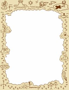 Free Page Borders and Frames Pirate Day, Pirate Theme, Borders For Paper, Borders And Frames, Page Borders, Treasure Maps, Paper Frames, Note Paper, Writing Paper