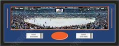 One framed large Edmonton Oilers stadium panoramic with openings for one or two ticket stubs* and one or two 4 x 6 inch personal photos**, double matted in team colors to 39 x 13.5 in.  The lines show the bottom mat color. $179.99  @ ArtandMore.com
