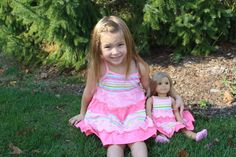 Pink Multi Colored Stripe Tiered Sundress For Girl and American Girl or Bitty Baby Doll weeline.com $36
