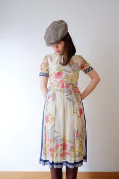 Bird in spring, Japanese vintage dress, xs. €128.00