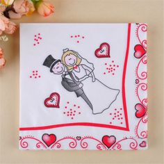 20Pcs/Pack Bride And Groom Wedding Decorative Paper Napkins Table Decor - Wedding Look