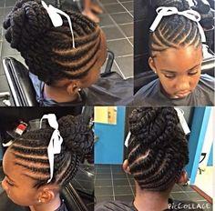 Natural hair Canerow children updo bun