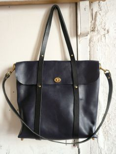 The Midnight Tote in Black and Navy. $370.00, via Etsy.