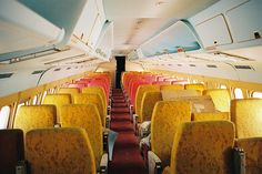 Interior of a TWA Convair 880 Economy Class N828TW.  Beautiful to look at, a nightmare to maintain due to a vast number of colors and seat covers used, these 'Great Cities' cabins were retired to the desert along with the TWA 880s in early 1974. They still looked nice in 2000.