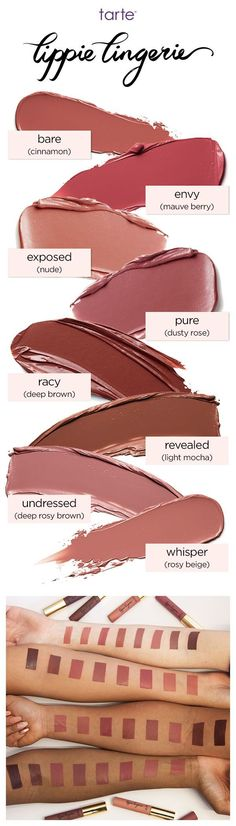 lippie lingerie matte tint is a longwearing, hydrating matte lip tint in a range of 8 sexy nude shades #tartecosmetics #tarte