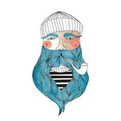 Sailor Giclee Print Fisherman Portrait Illustration Drawing Sailor Beard Pipe Poster Wall Art Decor Sailor Portrait  ************BUY TWO