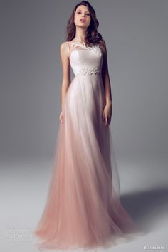 blumarine 2014 sleevless beaded -- I love the illusion wedding dress ombre effect overlay