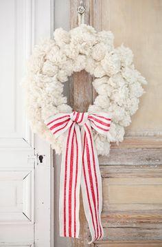 Coroa de Natal com tecido