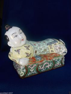 OLD CHINESE OR JAPANESE BOY PILLOW - TRINKET BOX . AWESOME ORIENTAL DECORATION