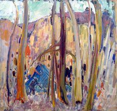 René RICHARD - Campement de trappeurs (1960) Abstract Landscape Painting, Abstract Painters, Landscape Paintings, Canadian Painters, Colourful Art, Canada, Sculpture, Objet D'art, Chevron