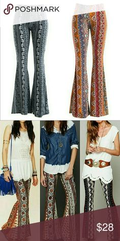 × Boho Patterned Bell Bottom Stretch Pants × Made in USA! Second photo is style inspiration only, not the actual product. Fashionomics Pants