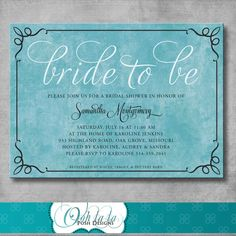 Printable Bridal Shower Invitation by OohlalaPoshDesigns on Etsy, $15.00