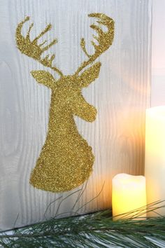 Glam Gold Deer Silhouette DIY --> http://www.hgtvgardens.com/crafts/make-a-glitter-deer-silhouette?soc=pinterest