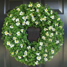 Artificial Boxwood Wreath Spring Wreath with White Blossoms