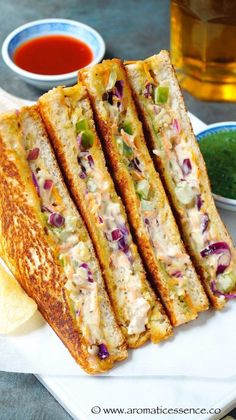 Vegetable mayonnaise sandwiches make for a quick snack or appetizer or even a yummy accompaniment during tea time. Although they aren& the healthiest of sandwiches, it& nice to indulge on some once in a blue moon or serve them during Tee Sandwiches, Healthy Sandwiches, Tea Party Sandwiches, Breakfast Recipes, Snack Recipes, Cooking Recipes, Breakfast Ideas, Indian Snacks, Indian Food Recipes