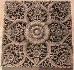 Thai Teak Wood Carving Panels | x2' Teak Wood Panel Java Finish ID:wpswp409