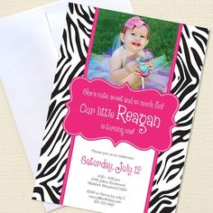 Zebra party - Set of 15 custom photo invitations - Printable file also available