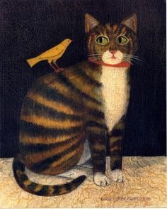 Tiger Cat with Bird | American Folk Art Painting - Diane Ulmer Pedersen