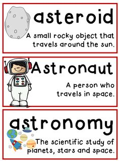 Space unit, includes vocabulary essential for understanding. Space Preschool, Space Activities, Science Activities, Kindergarten Science, Preschool Lessons, Teaching Science, Space Vocabulary, Vocabulary Cards, Solar System For Kids