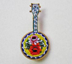 Banjo Mosaic Brooch Rose Flower Italy Pin Musical by VogueVille, $17.00