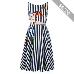 Dolce & Gabbana Sleeveless Stripe Beach Applique Dress